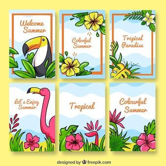 열 대 꽃 카드 컬렉션