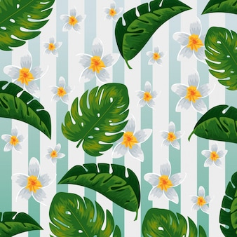 Tropical flowers and exotic leaves background