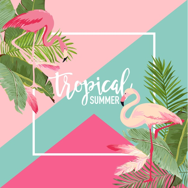 Tropical flowers and flamingo summer banner, graphic background, exotic floral invitation, flyer or card. modern front page