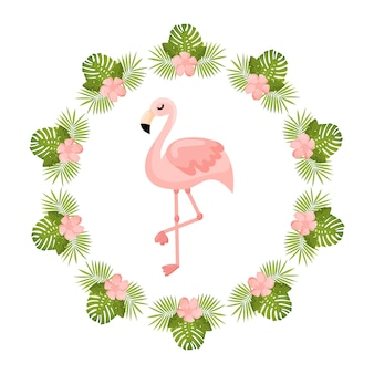 Tropical flowers and flamingo summer banner graphic background exotic floral invitation
