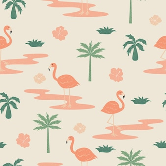 Tropical flowers and flamingo summer seamless pattern