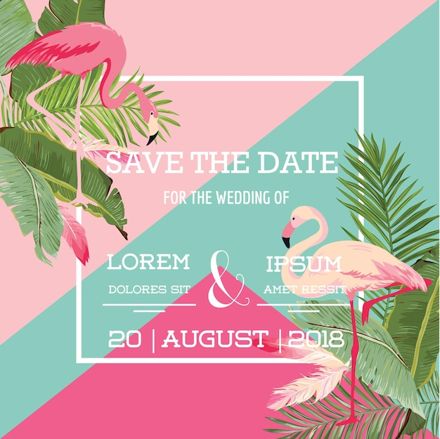 Tropical flowers and flamingo summer wedding card, exotic floral invitation