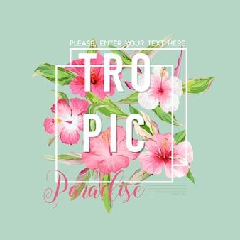 열대 꽃 그래픽 디자인-티셔츠, 패션, 프린트