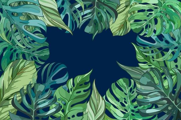 열대 꽃 / 잎-확대 배경