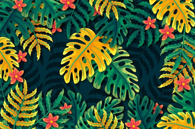 Tropical flowers and leaves background for zoom