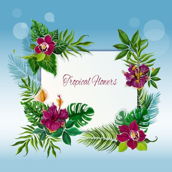 Tropical flowers and leaves frame