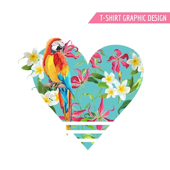 Tropical flowers and leaves, parrot bird graphic design