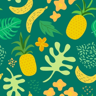 Tropical flowers and leaves pattern. pineapples retro seamless trendy background memphis style. summer jungle nature design. vector illustration