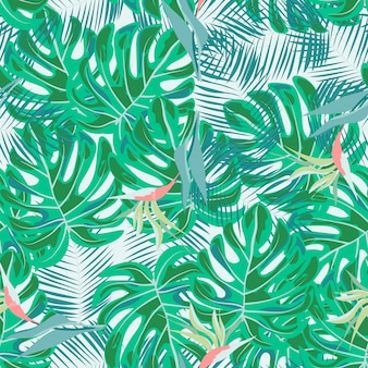 Tropical flowers and leaves of plants jungle vector seamless pattern. exotic floral print for swimsuits, fabrics, wallpapers
