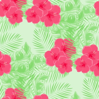 Tropical flowers and leaves of plants jungle vector seamless pattern