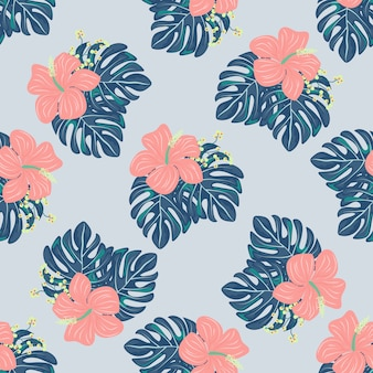 Tropical flowers and leaves of plants jungle vector seamless pattern.