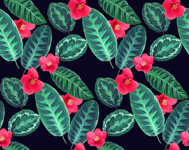 Tropical flowers and leaves seamless pattern.