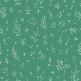 Tropical flowers leaves and twigs seamless pattern.