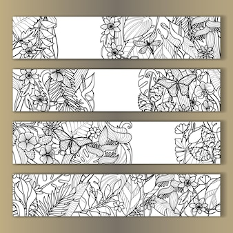 Tropical flowers mock ups set outline for birthday greeting cards invitation with text place
