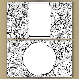 熱帯の花のモックアップセット結婚式の誕生日グリーティングカードの招待状のアウトライン構成
