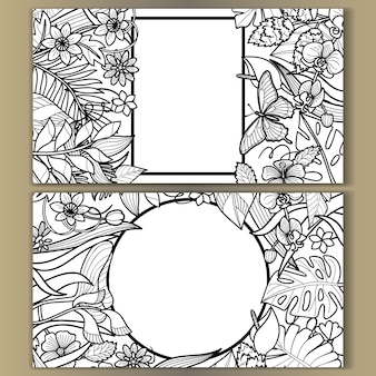 Tropical flowers mock ups set outline  composition for wedding birthday greeting cards invitation
