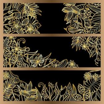 熱帯の花のモックアップセット誕生日グリーティングカードの招待状のアウトラインテンプレートコレクション