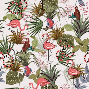 Tropical flowers, palm jungle seamless vector
