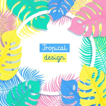 Tropical flowers and palms summer floral banner