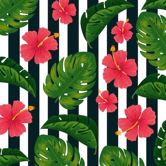 Tropical flowers plants and leaves background
