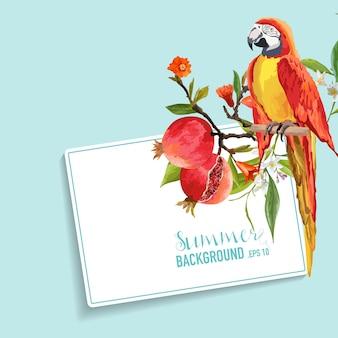 熱帯の花、ザクロ、オウムの鳥のグラフィック デザイン