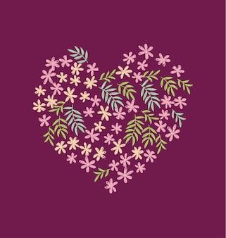Tropical flowers seamless pattern in heart shape
