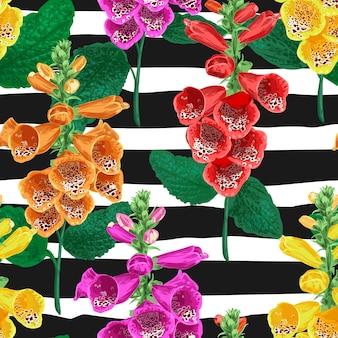 熱帯の花のシームレスなパターン。タイガーユリの花と夏の花の背景。壁紙、ファブリックの水彩ブルーミングデザイン。ベクトルイラスト