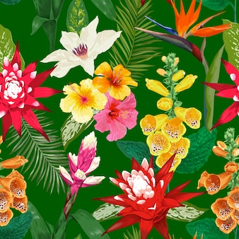 Tropical flowers seamless pattern. tiger lily flower and hibiskus. watercolor blooming