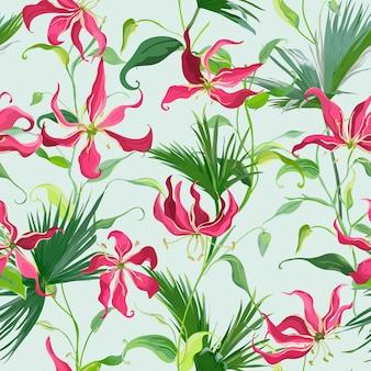 Бесшовный узор из тропических цветов