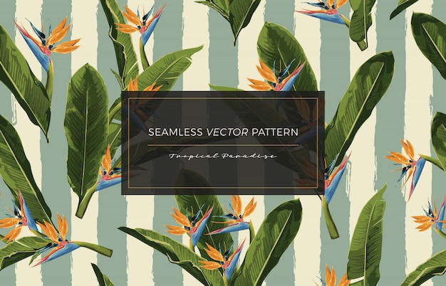 Tropical flowers seamless pattern.