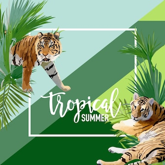 Tropical flowers and tiger summer banner, graphic background, exotic floral invitation, flyer or card. modern front page