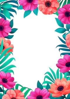 열 대 꽃 유행 템플릿