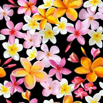 열 대 꽃 빈티지 원활한 패턴