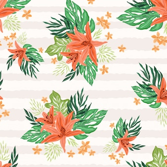 Tropical flowers with stripes pattern