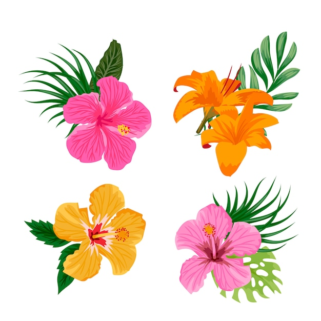tropical flower vectors photos and psd files free download rh freepik com tropical flower vector pattern free tropical flower background vector