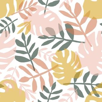 熱帯の葉の手描きのシームレスなパターン。