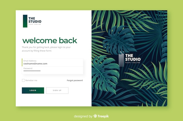 Tropical foliage log-in landing page