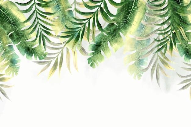 熱帯の葉の壁画の壁紙