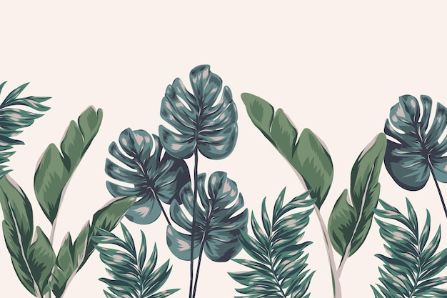 Tropical foliage mural wallpaper
