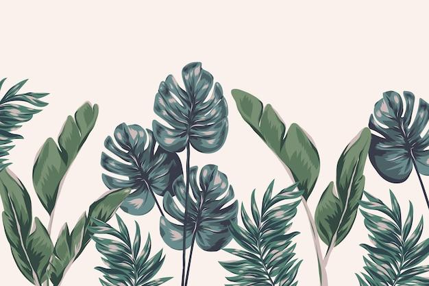 Carta da parati murale con fogliame tropicale
