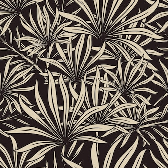 Tropical foliage seamless pattern with exotic leaves in monochrome style