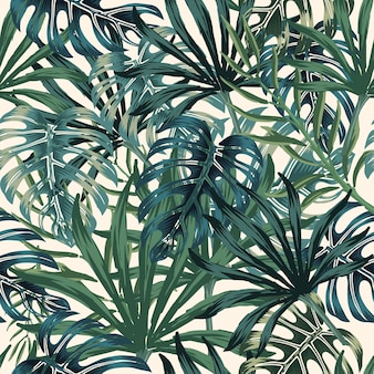 Tropical foliage seamless pattern with palm and monstera leaves in vintage style on light background