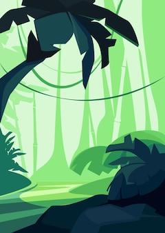 Тропический лес на закате. природные пейзажи в вертикальной ориентации.