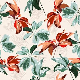 熱帯林の植物の葉モチーフがランダムに散らばってヤシの葉と混ざり合って、シームレスなベクトルテクスチャパターンライトクリーム色の背景に手描きスタイルで印刷