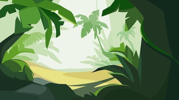 日光の下で熱帯林。美しい自然の風景。