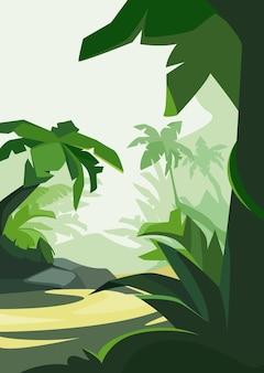 Тропический лес при дневном свете. природные пейзажи в вертикальной ориентации.