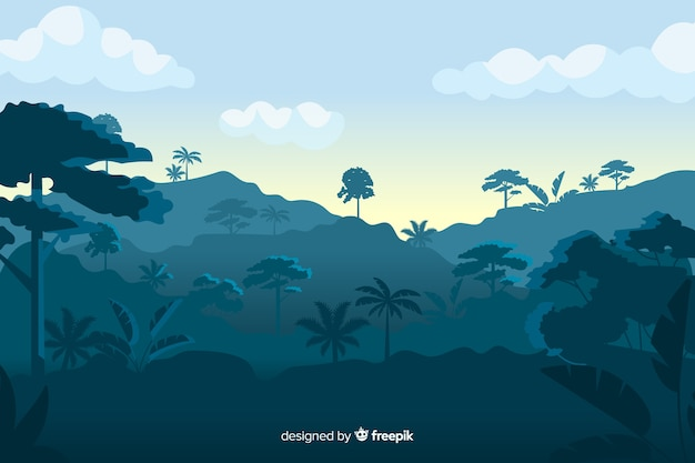 Tropical forest landscape on blue shades