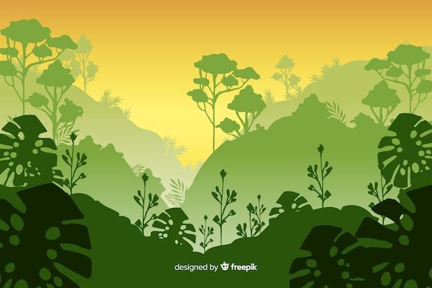 モンステラ植物と熱帯林の風景