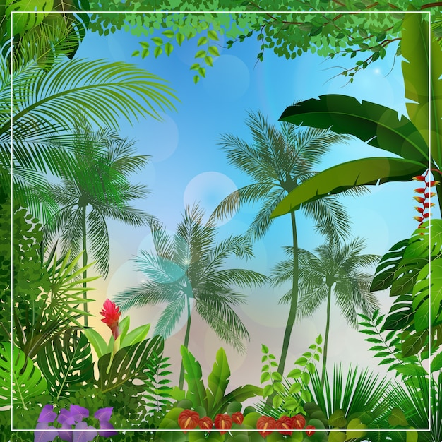 Tropical forest landscape with palm trees and leaves