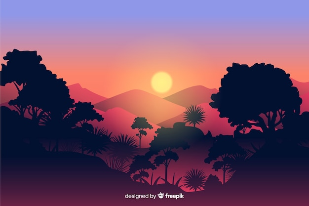 Tropical forest landscape with sun and mountains